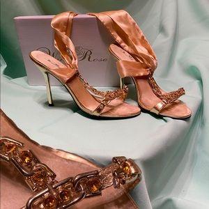 strap around your ankle gold rhinestone heel
